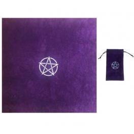 Tapis de divination et sac en velours, motif pentacle