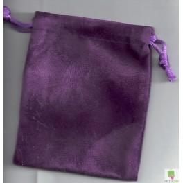 Pochette violette effet velours 10 x 8 cm