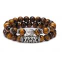 bracelet double rangées en oeil de tigre avec bouddha