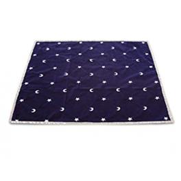 tapis de voyance bleu imagé de lunes et étoiles