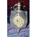 Pendule cristal 12 facettes avec symbole Reiki